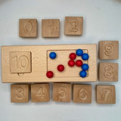Domino board with 10 wooden...